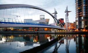 The Lowry and the millenium Bridge at Salford Quays Manchester England UK.