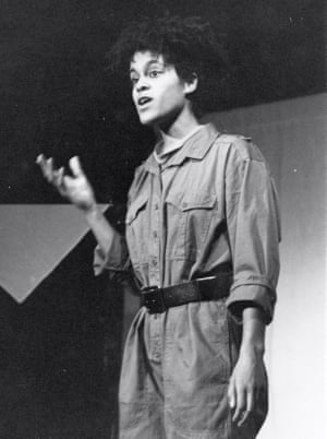 Bernardine Evaristo acting in a play that she co-wrote in the 1980s for Theatre of Black Women