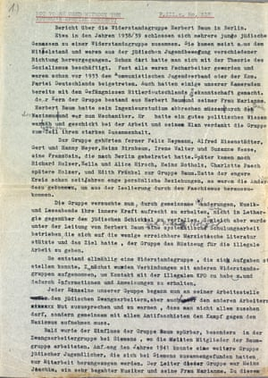 A report by Richard and Charlotte Holzer, surviving members of the Baum Group, from 1957. The Baum Group were a Jewish communist resistance network who carried out arson attacks on Nazi sites.