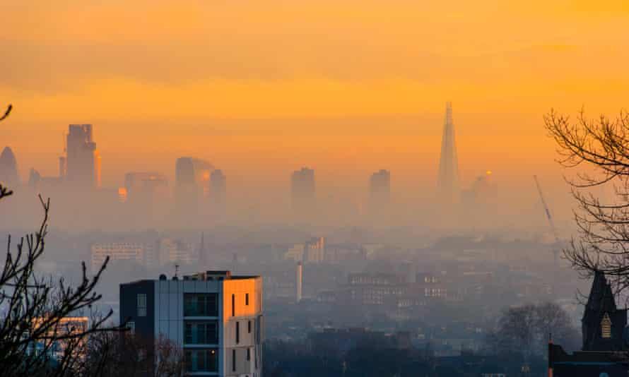 An orange sky over the City of London skyline