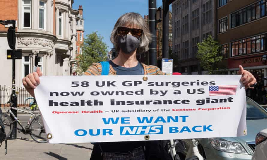Doctors protest against GP practices being taken over by US health insurance company Centene Corporation, London, 22 April 2021.