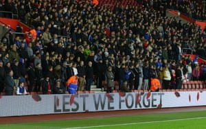 Lest we forget is shown on the LED boards as fans observe a moment of silence for remembrance day during the U21 Friendly between England and Italy at St Mary's Stadium last night
