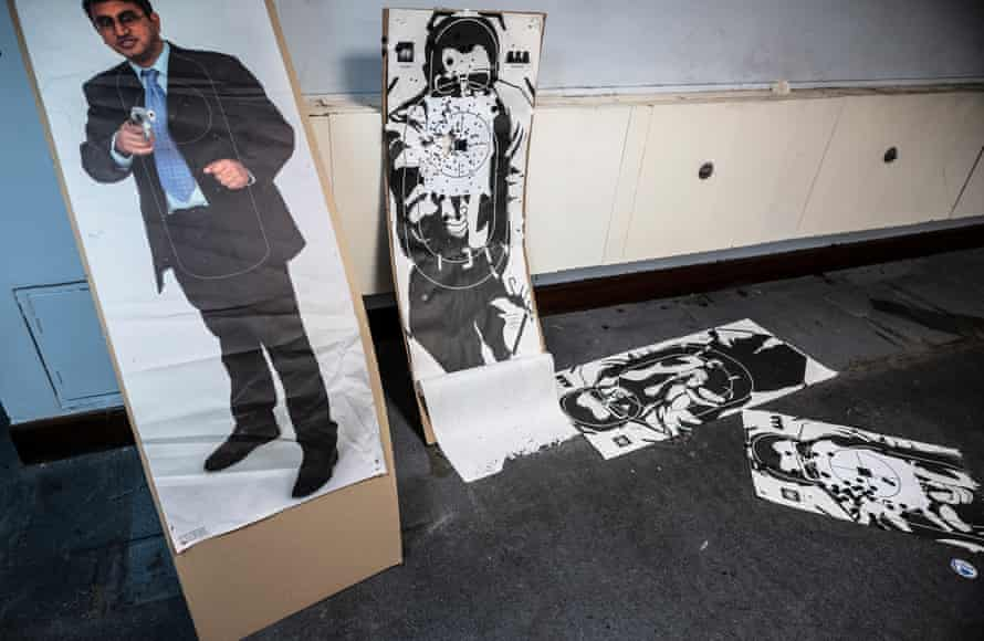 Targets leftover from firearms training that has been carried out inside the former Paddington Green police station
