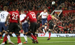 Harry Kane scores for Spurs at Man Utd in August 2018.