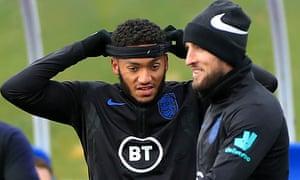 England's Joe Gomez during training on Tuesday.