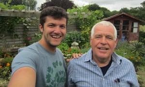 Clint Buffington, left, with Kelvin Euridge in his garden in Kent, UK.