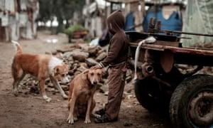 A Palestinian boy on the streets of Gaza city, January 2021