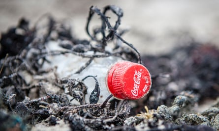 A Coca-Cola bottle on the coast of Scotland, found during an expedition by Greenpeace.