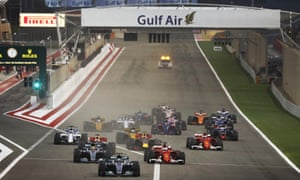 The start of the Bahrain Grand Prix at Sakhir in 2017. A week after the race Najah Yusuf's nightmare began when she was asked to attend a police station and then held against her will, and eventually charged and imprisoned.