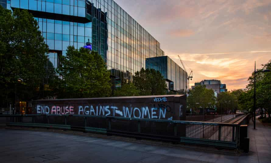 Graffitis protesting against the rise in domestic violence during the first national lockdown in May
