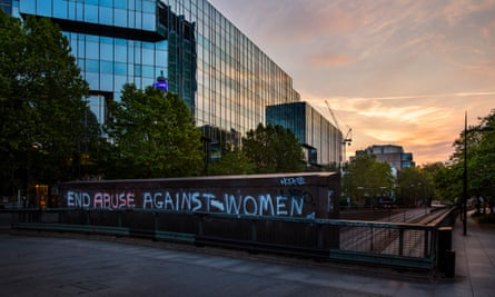 Graffiti in London protests against the increase in domestic violence during the coronavirus pandemic.