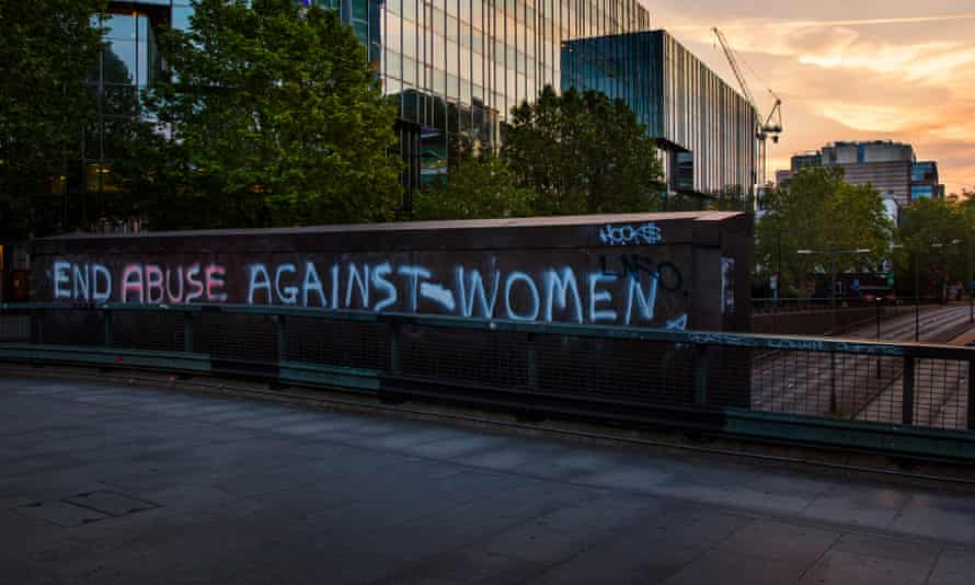 Graffiti protesting against increased domestic violence during the pandemic, London, May 2020