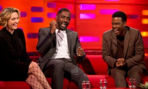 Kate Winslet, Idris Elba and Chris Rock during filming of the Graham Norton Show.