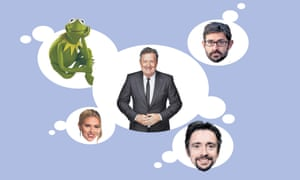 Secret crushes … Piers Morgan with (clockwise from top left) Kermit the Frog, Louis Theroux, Richard Hammond and Scarlett Johansson.
