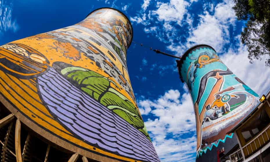 Painted cooling towers, and the largest mural in South Africa, on the decommissioned Orlando Power Station. South Africa