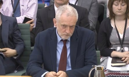 Jeremy Corbyn before home affairs select committee
