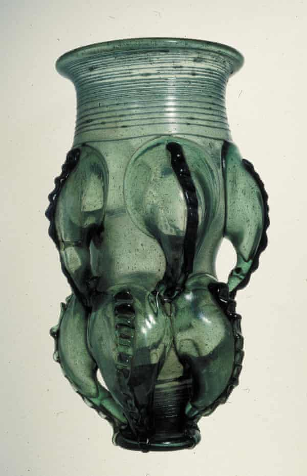 Anglo-Saxon glass claw beaker.