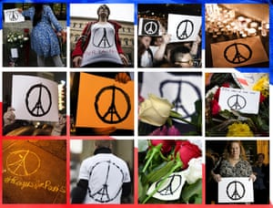Composition of handmade signs in support of the victims of the Friday 13 Nov 2015 Paris attacks photographed around the world