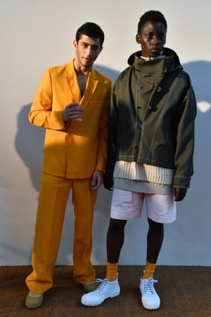 Models pose during the Jacquemus menswear autumn/winter 2019-20 presentation