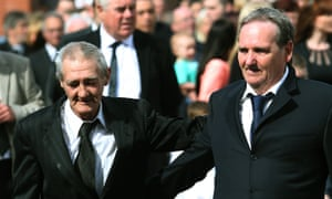 Paddy Armstrong, right, at the funeral of Gerry Conlon in Belfast, with Birmingham Six member, Paddy Hill.
