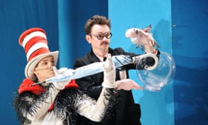 Angus Wright (The Cat in the Hat) and Justin Salinger (Fish in the Bowl) in The Cat in the Hat at the Cottesloe, London, with designs by Vicki Mortimer.