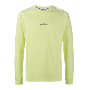 neon yellow long sleeved tshirt Stone Island Browns