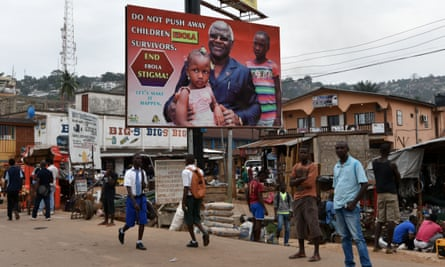 President Ernest Bai Koroma is featured on an Ebola poster in Freetown