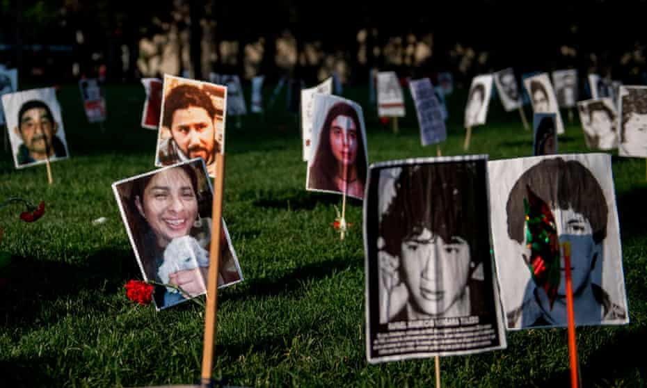 Portraits of people who disappeared during Chile's dictatorship of Augusto Pinochet.