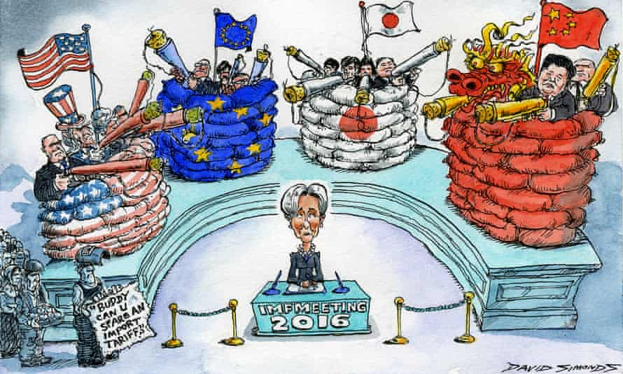Cartoon of national governments in bunkers surrounding Christine Lagarde