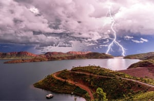 Lightning over Lake Argyle in the Kimberley, Western Australia