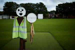 Fred the umpire scarecrow at the protecting the wicket at Hunslet Nelson cricket club.