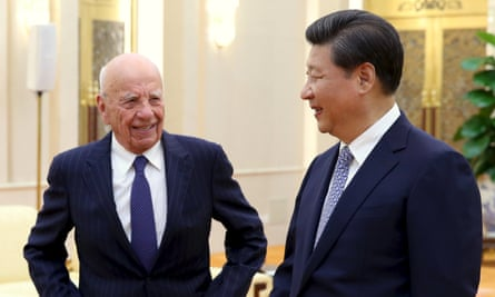 Chinese president Xi Jinping with Rupert Murdoch in Beijing.