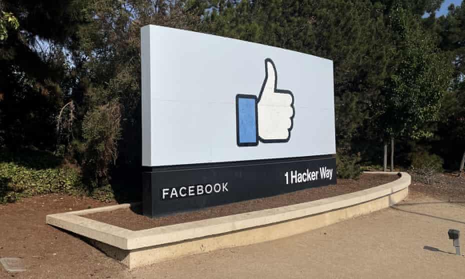 A Facebook sign in Menlo Park, California