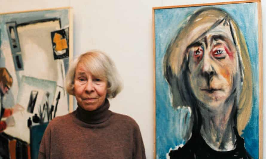 Tove Jansson in 2001, next to a self-portrait.