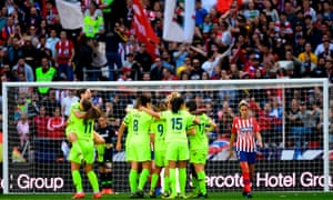 Barcelona beat Atlético Madrid in front of a record crowd for a women's club game of 60,000 at the Wanda Metropolitano in Madrid last month.