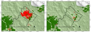 Forest clearance on ABN's plantation between June 2016 and March 2017 (l) and between March 2017 and June 2017, according to RAN satellite data