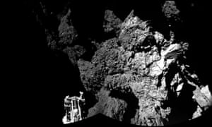 Rosetta's lander Philae on the surface of Comet 67P/Churyumov-Gerasimenko. One of the lander's three feet can be seen in the foreground.