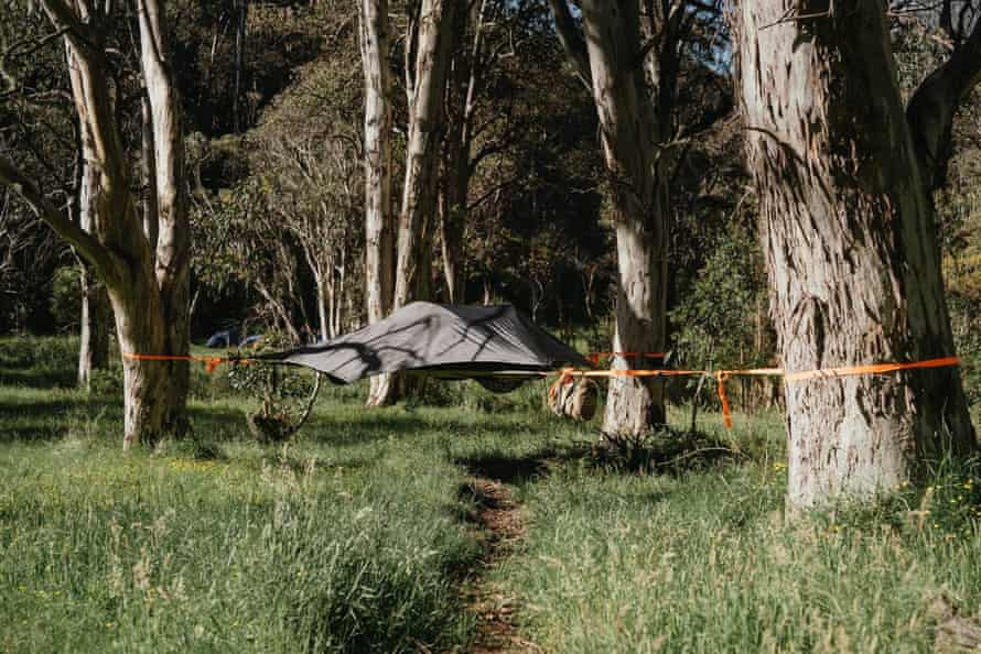 A suspended tent erected by Alpine Nature Experience for its semi-guided multi-day hike along the Falls to Hotham Alpine crossing.