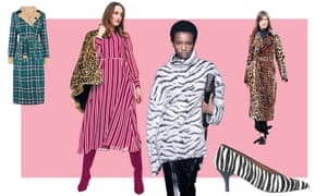 From left: Warehouse coat, £99; Boden Alba dress, £130; Givenchy zebra-print sweater; And/Or John Lewis shoes, £89; Victoria Beckham leopard-print coat.