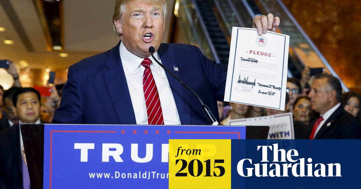 Donald Trump signs pledge not to run as independent