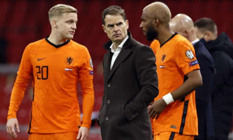 Frank de Boer, the Netherlands manager, at his team's World Cup qualifier at home to Latvia in March.