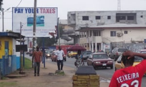 A pay your tax billboard in Liberia