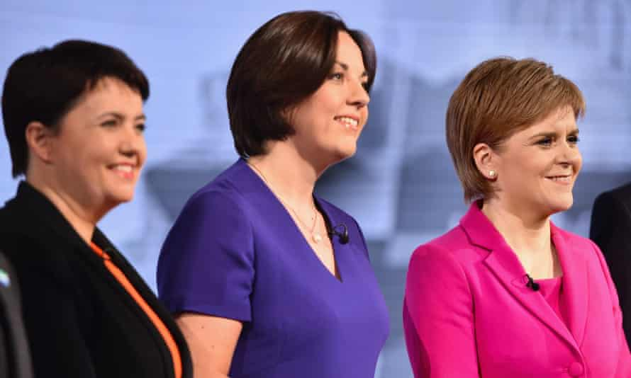 Ruth Davidson of the Scottish Conservatives, Scottish Labour's Kezia Dugdale and the SNP leader Nicola Sturgeon, attend the BBC Scotland Holyrood Election debate last month.
