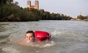 Benjamin David swimming to work