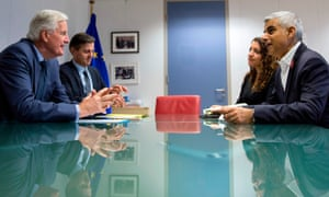 Michel Barnier, left, in talks with Sadiq Khan, right, in Brussels