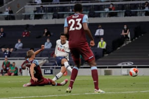 Heung-Min Son of Tottenham Hotspur fires the ball home but it's disallowed by VAR for offside.