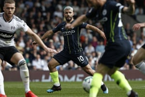 Manchester City's Sergio Aguero waits for a pass at Craven Cottage as City beat Fulham 2-0. Aguero scored the second.