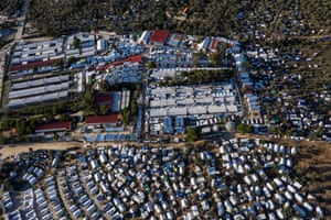 An aerial view of the Moria camp and the makeshift one around it