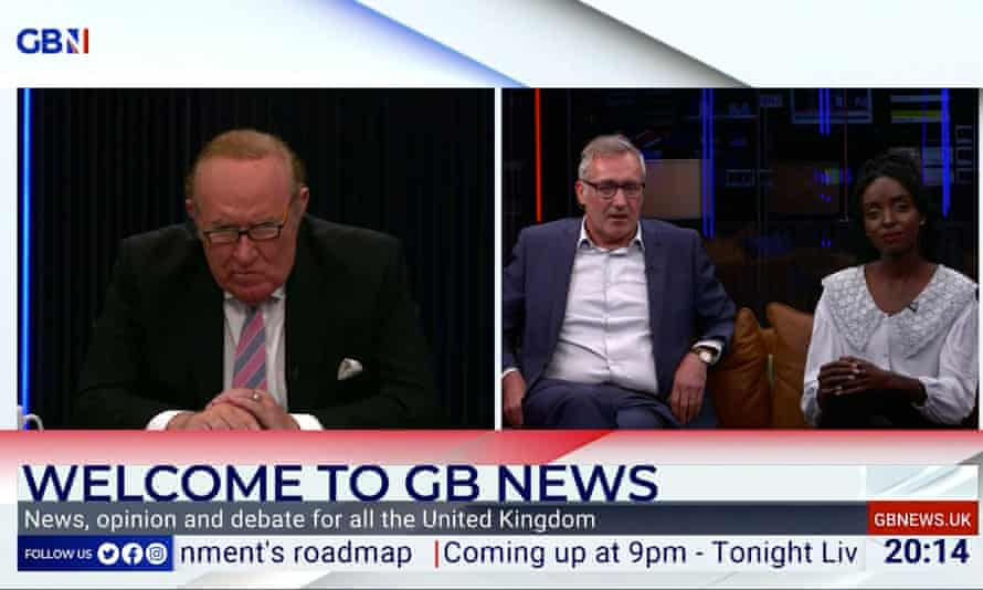 GB News chairman Andrew Neil (left) and presenters on the day the channel launched.
