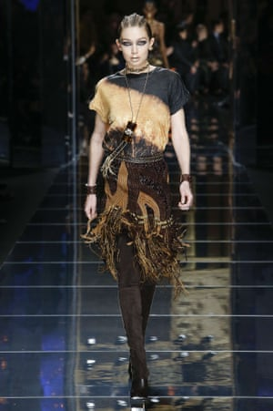 Gigi Hadid at the Balmain show during Paris fashion week.